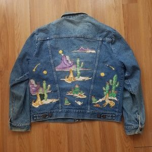 Rustler VTG Custom Painted Southwestern Denim Jkt